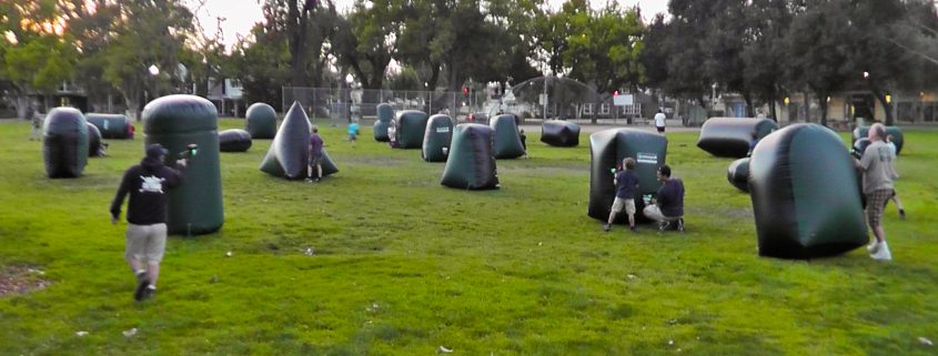 Kids playing Laser Tag with party rentals