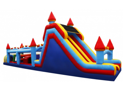 60' Castle Obstacle Course Slide