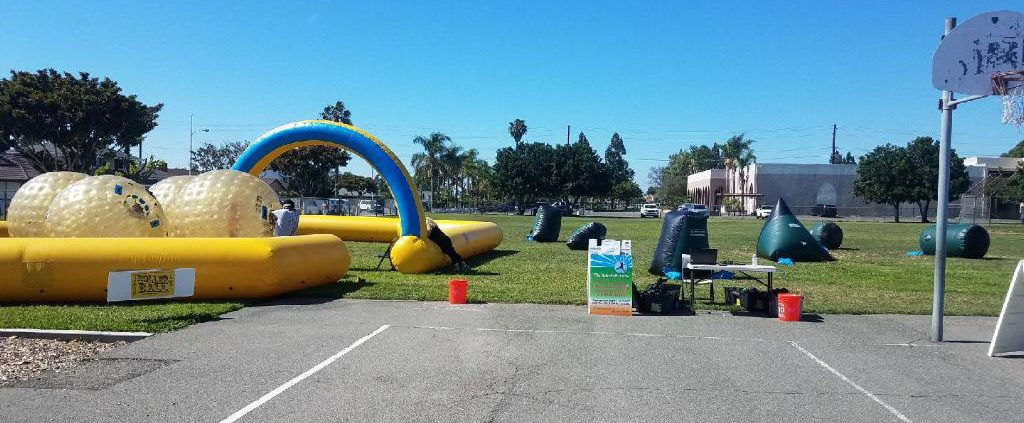 Image of Task force laser tag, land zorbs set up at Gissler Elementary School carnival