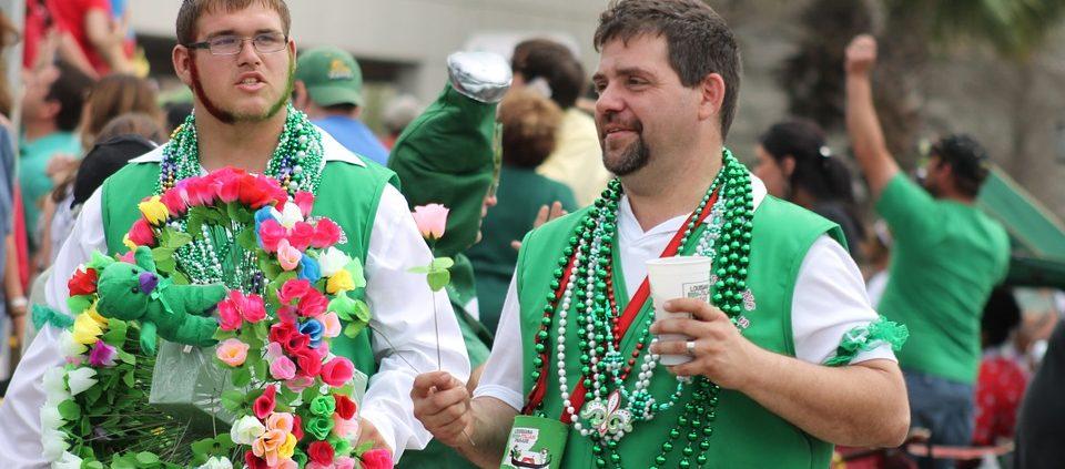 Image of two Irish men walking around at an Irish Fair