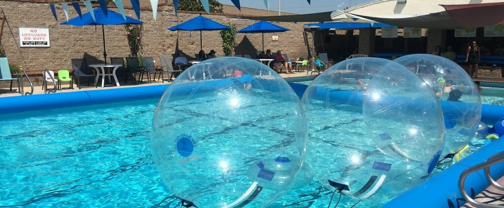 Bubble Rollers floating in Blue Buoy Swim School Pool