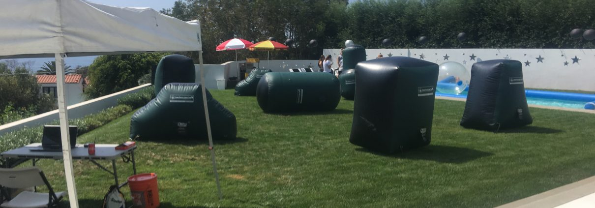 Mobile Laser Tag bags sitting in backyard. Ready for kids birthday bash