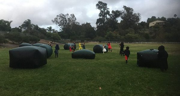 Mission Meadows Elementary Students using Emerald Events Task Force Laser Tag Rental in park