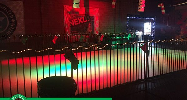 Synthetic Ice Rink with Disco Light set up for Jefferson Liu