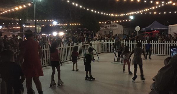Kids Enjoy Winter Ice Skating Rink in Yucaipa, California