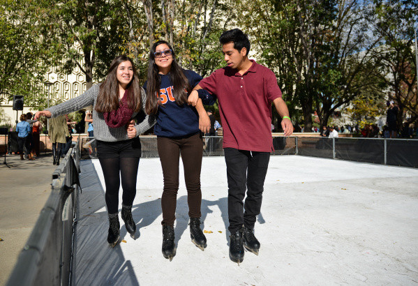 CSU Fullerton Students skate on fake ice rink for ice skating rink event