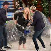 Amy Schumer rolls onto the Ellen Degeneres set in a Bubble Roller to speak about her personal love life.