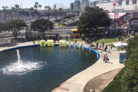 Toyota Grand Prix 2018 in Long Beach California- The Bubble Rollers Attraction on the sidelines