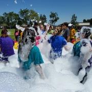 Bubblepalooza Foam party at Vineyard Junior High School. Foam Rentals provided by Emerald Events.