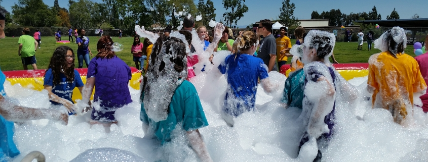 Bubblepalooza Foam party at Vineyard Junior High School. Foam Rentals provided by Emerald Events.