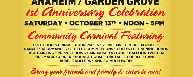 Golds-Gym-celebrates-1-year-anniversary-emerald-events-bubble-rollers-anaheim-katella