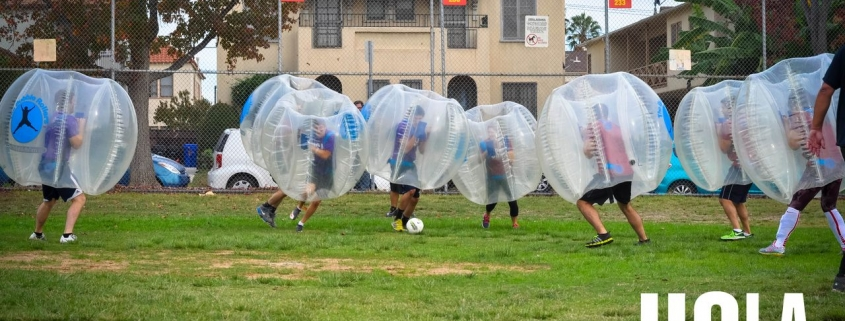 Urban Sports Sunday Funday Bubble Soccer LA January 2019. Bubble soccer balls provided by the bubble rollers