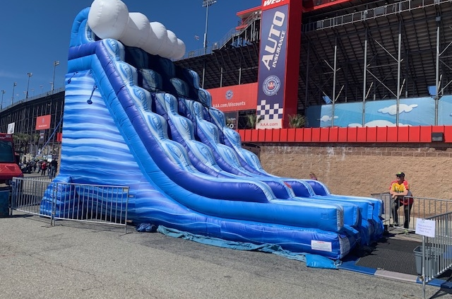 Rent 22-foot high massive dual lane blue marble dry slip and slide kids and event party rental