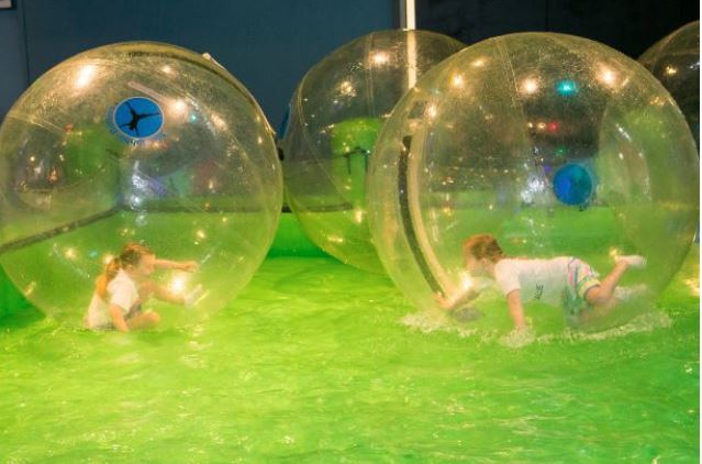 The Bubble Rollers at Discovery Cube's Bubble Fest. Check out our Water Spheres at the Bubble Fest.